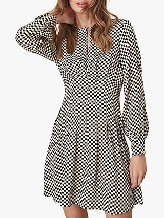Reiss Edna Check Print Long Sleeve Dress, Black/White