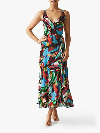 Reiss Leona Painterly Maxi Dress, Black/Multi