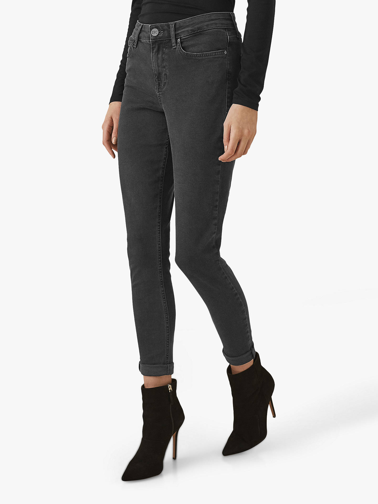 Buy Reiss Lux Mid Rise Skinny Jeans, Washed Black, 24 Online at johnlewis.com