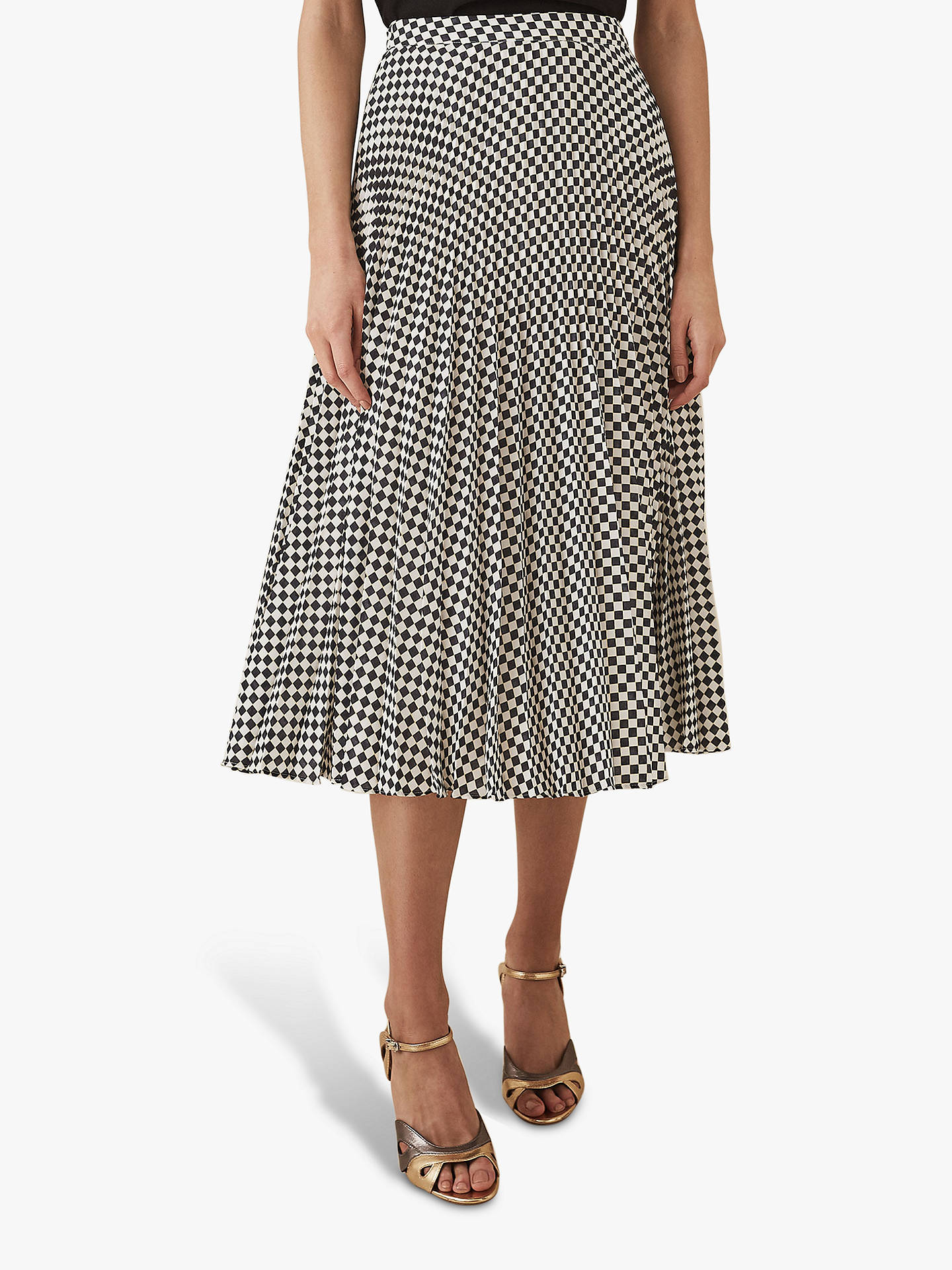 4a813f405e26a Buy Reiss Abigale Check Pleat Skirt, Black/White, 8 Online at johnlewis.