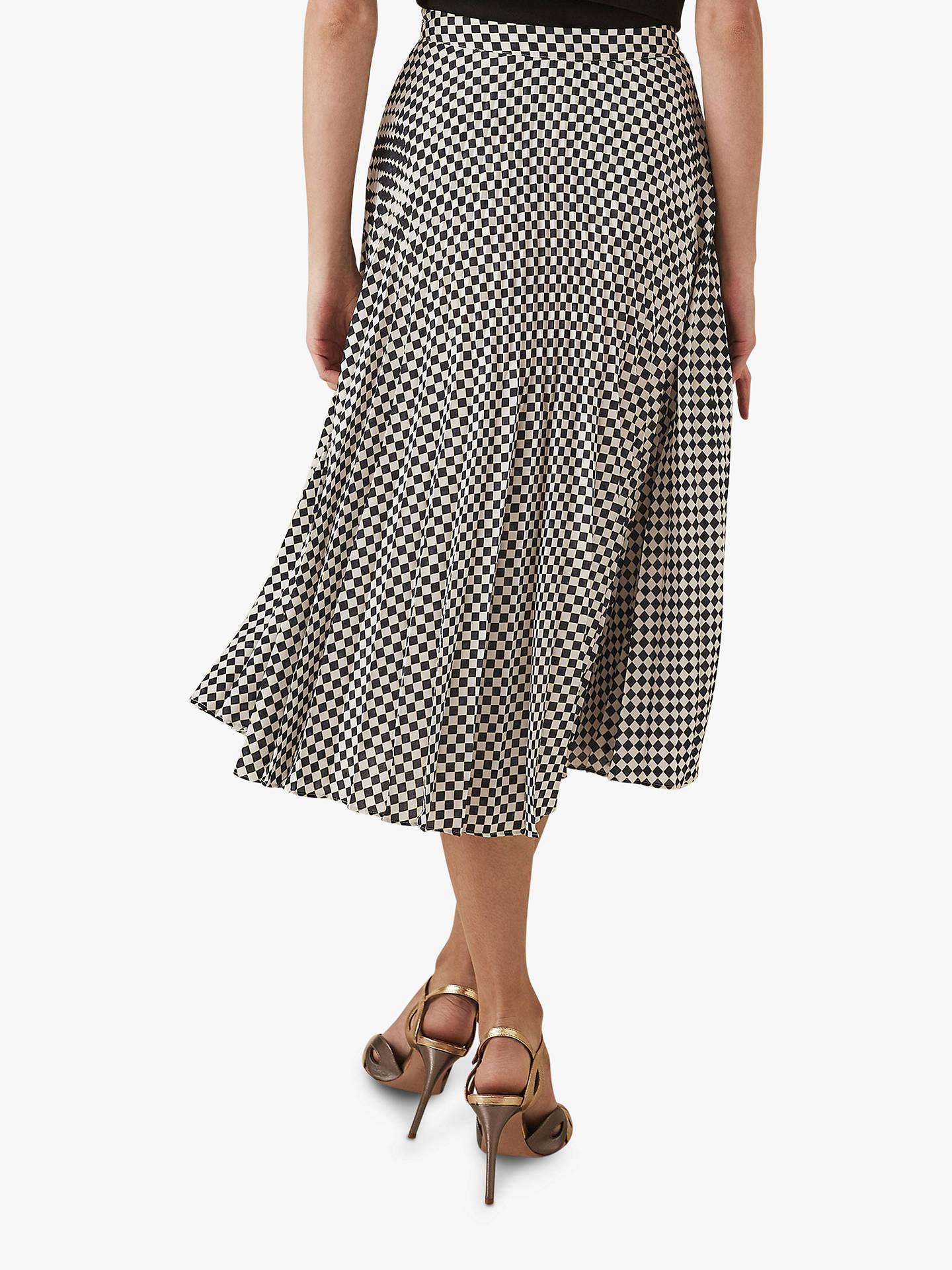 2b280f0c6 Buy Reiss Abigale Check Pleat Skirt, Black/White, 6 Online at johnlewis.