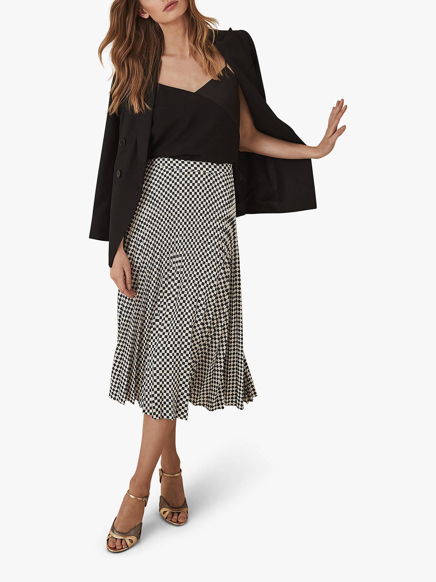 d480b7e24f Buy Reiss Abigale Check Pleat Skirt, Black/White, 12 Online at johnlewis.
