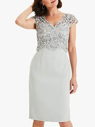 Phase Eight Ellise Lace Dress, Duck Egg