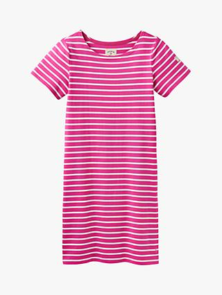 Joules Riviera Stripe T-Shirt Dress, Pink/Cream