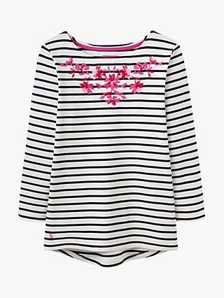 Joules Harbour Embroidered Neckline Jersey Top, Cream/Navy