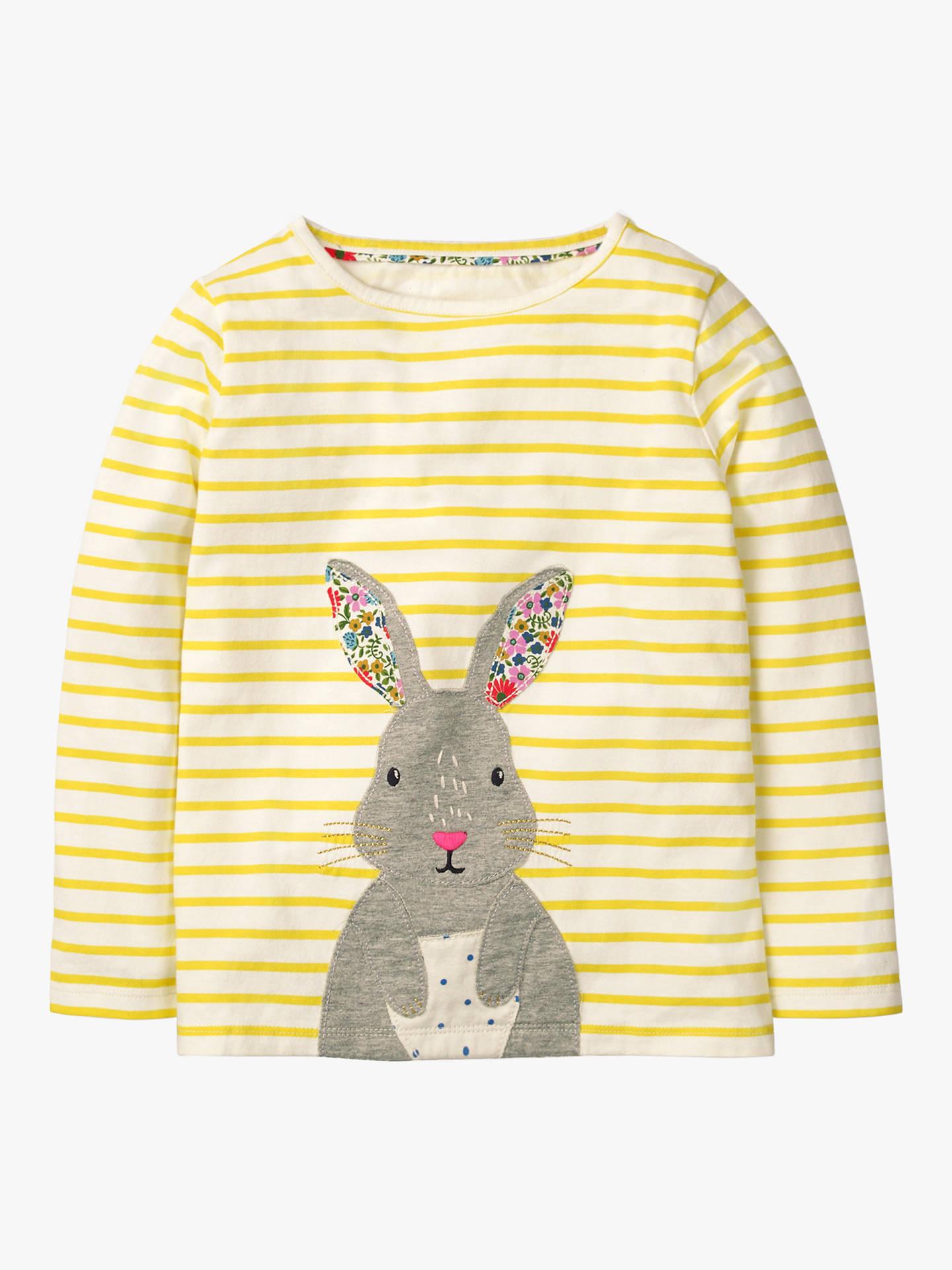 5cbbda8895 Mini Boden Girls' Bunny Applique T-Shirt, Yellow at John Lewis ...