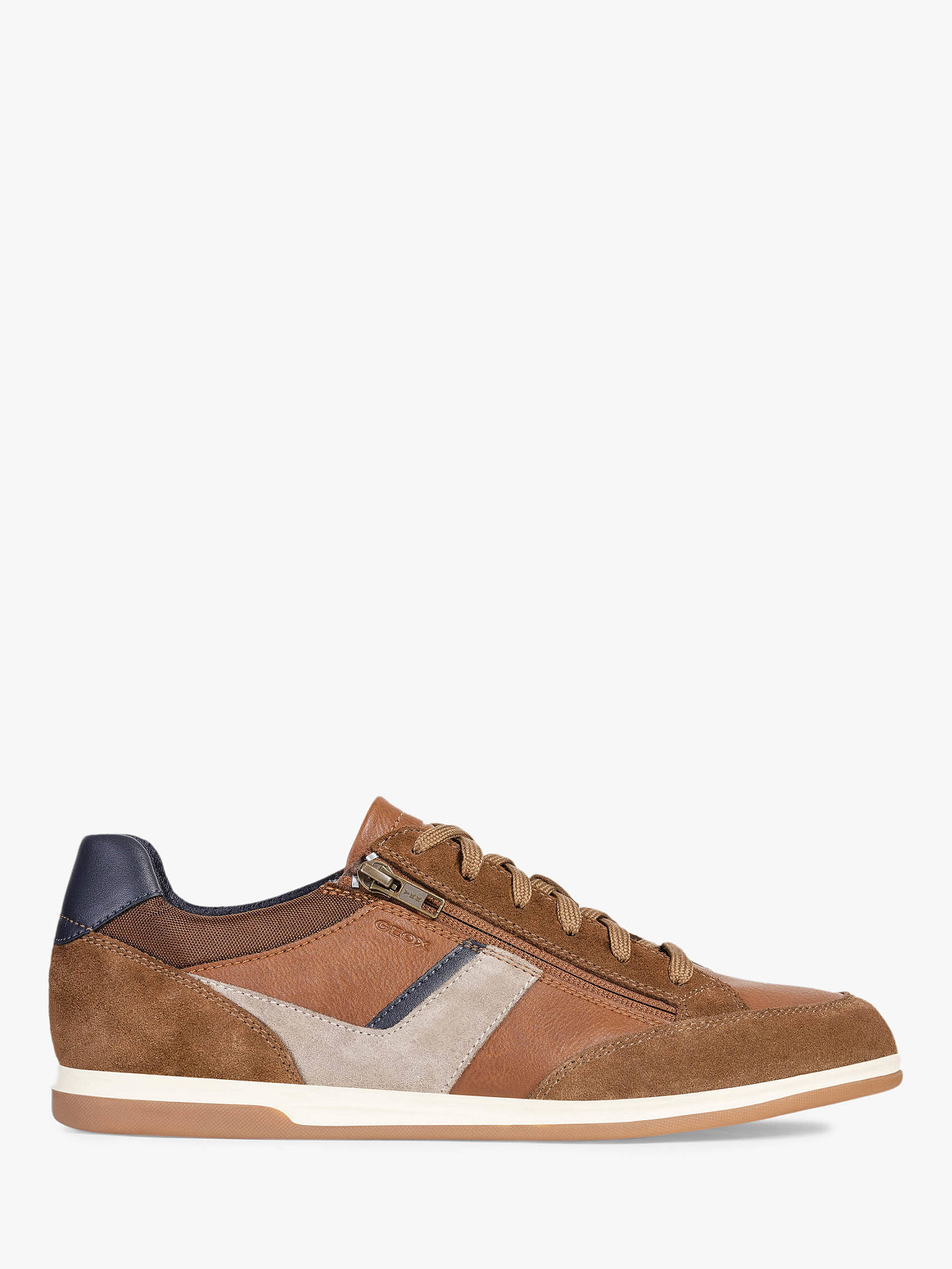 cc80e9bb8471cd Buy Geox Renan Leather Zip Detail Trainers, Brown, 7 Online at  johnlewis.com ...