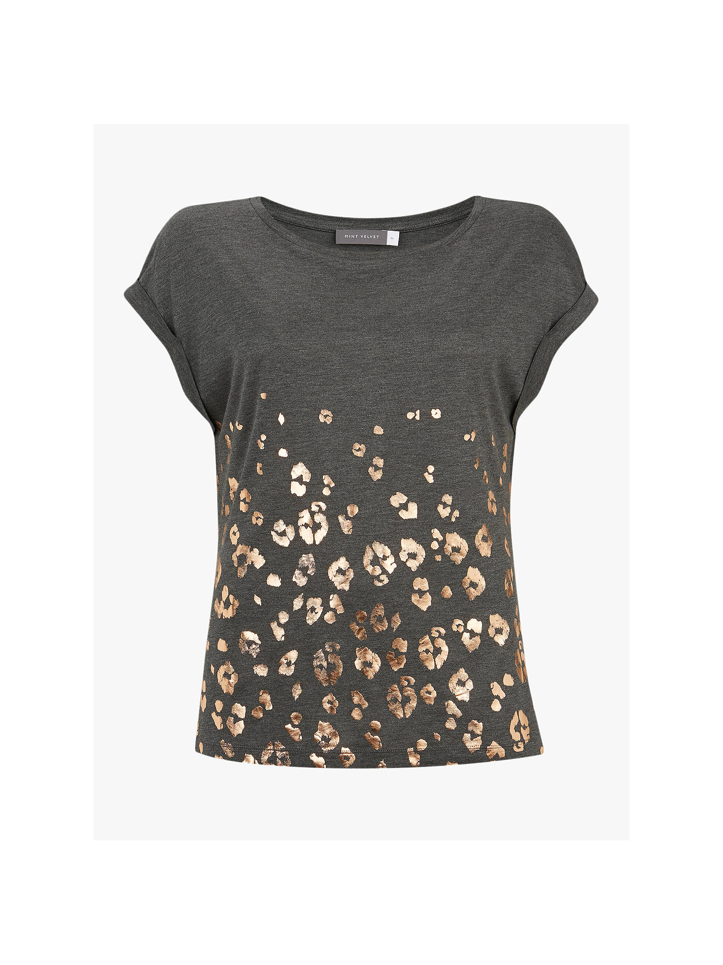 88e5dec9adb1 Buy Mint Velvet Leopard Print T-Shirt, Grey, L Online at johnlewis.