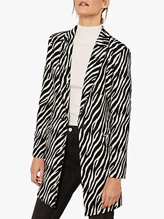 Mint Velvet Zebra Jacquard Tailored Coat, Black/White