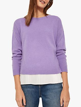 Mint Velvet Pleated Knit Jumper, Purple