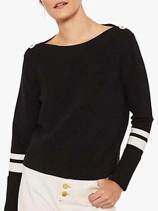 Mint Velvet Rib Knit Button Detail Top, Black/Ivory