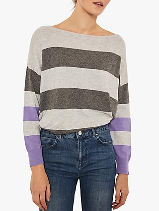 Mint Velvet Striped Jumper, Grey/Violet