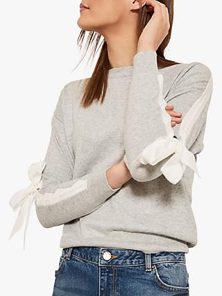 Mint Velvet Tie Sleeve Jumper, Light Grey