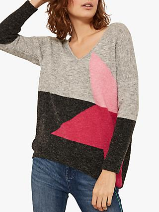 Mint Velvet Colour Block Star Jumper, Light Grey