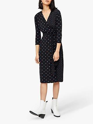 Warehouse Multi Spot Wrap Dress, Black Pattern