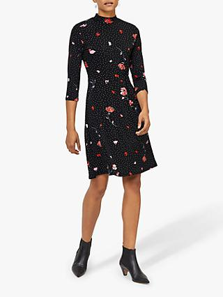 Warehouse Floral Spot Flippy Dress, Black Pattern