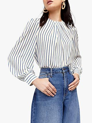 Warehouse Rope Stripe Pleat Top, White