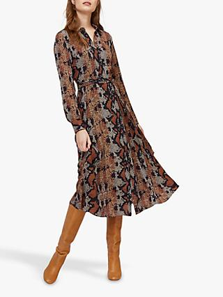 Warehouse Snake Print Shirt Dress, Brown