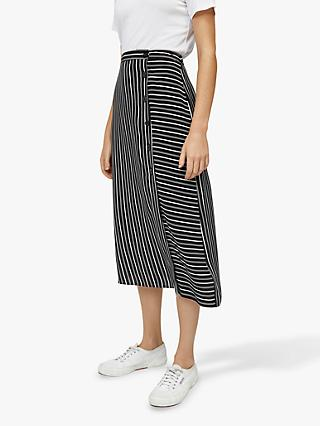 Warehouse Stripe Button Midi Skirt, Black/Multi