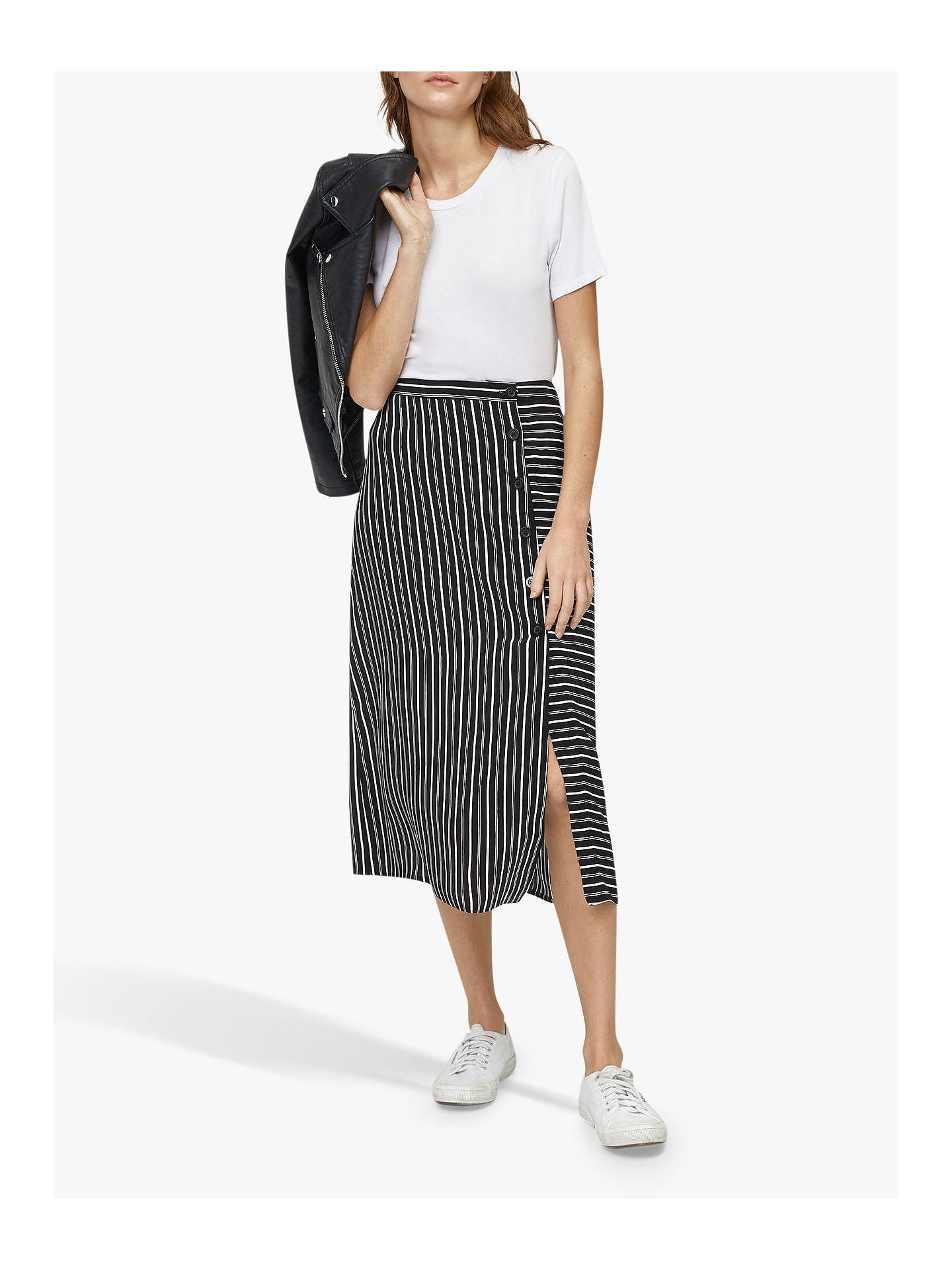 8e66002ee059 Buy Warehouse Stripe Button Midi Skirt, Black/Multi, 10 Online at johnlewis.