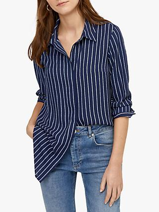 Warehouse Rope Stripe Longline Shirt, Navy