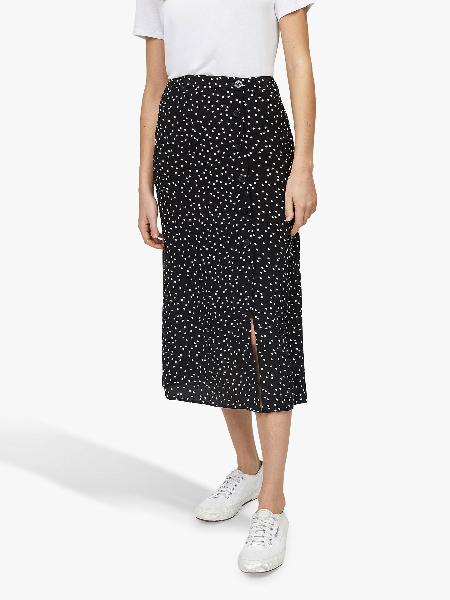 world-wide renown factory price reliable reputation Warehouse Spot Side Button Midi Skirt, Black Pattern at John ...