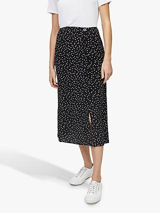 Warehouse Spot Side Button Midi Skirt, Black Pattern