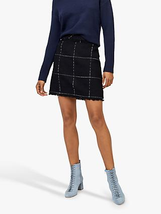 Warehouse Check Pelmet Skirt, Navy