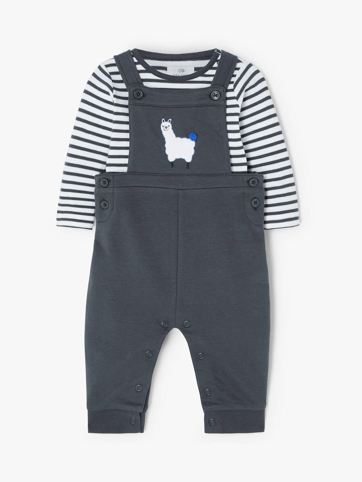 John Lewis & Partners Baby Gots Organic Cotton Llama Stripe Dungaree Set, Charcoal Grey by John Lewis & Partners