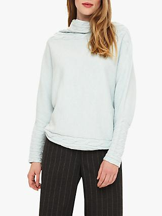 Phase Eight Corine Cable Knit Textured Jumper, Sage Green