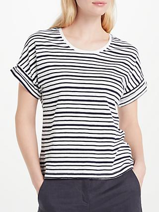 John Lewis & Partners Stripe Drop Sleeve Slub T-Shirt