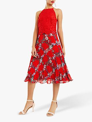 Oasis Bloom Floral Pleated Midi Dress, Red/Multi