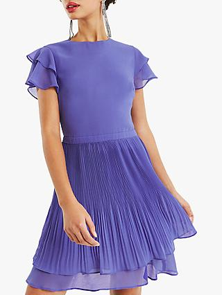 Oasis Chiffon Pleated Skater Dress, Mid Blue