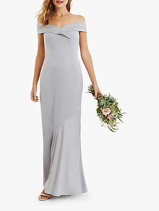 Oasis Bardot Maxi Dress, Pale Grey