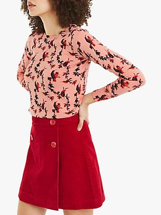 Oasis Gracie Bird Print Jumper, Pink