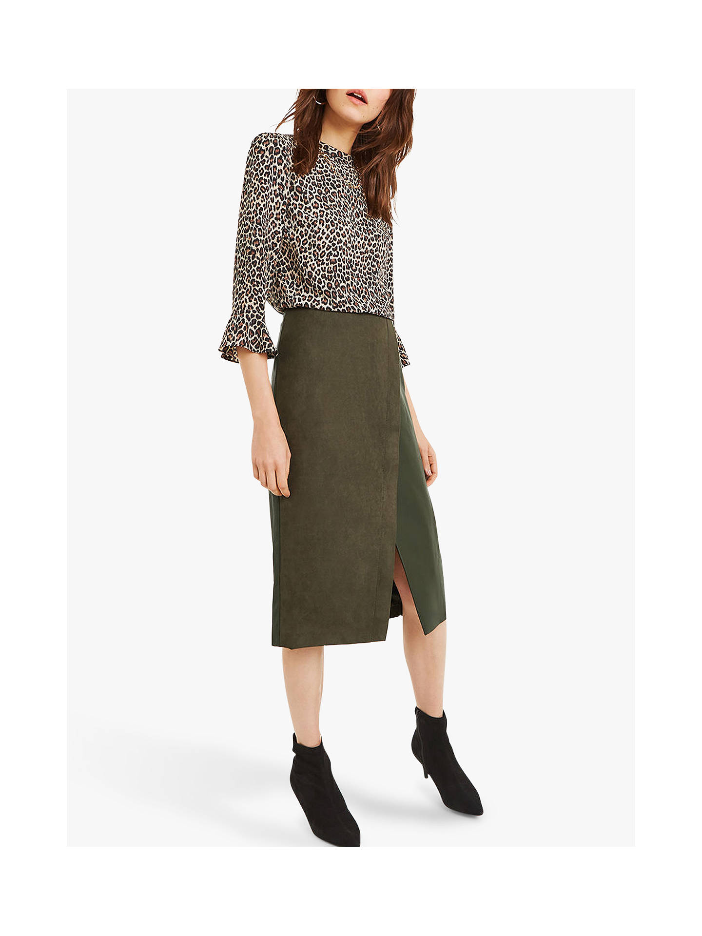 9a9358e124ef Buy Oasis Faux Suede Asymmetric Midi Skirt, Khaki, 10 Online at  johnlewis.com ...