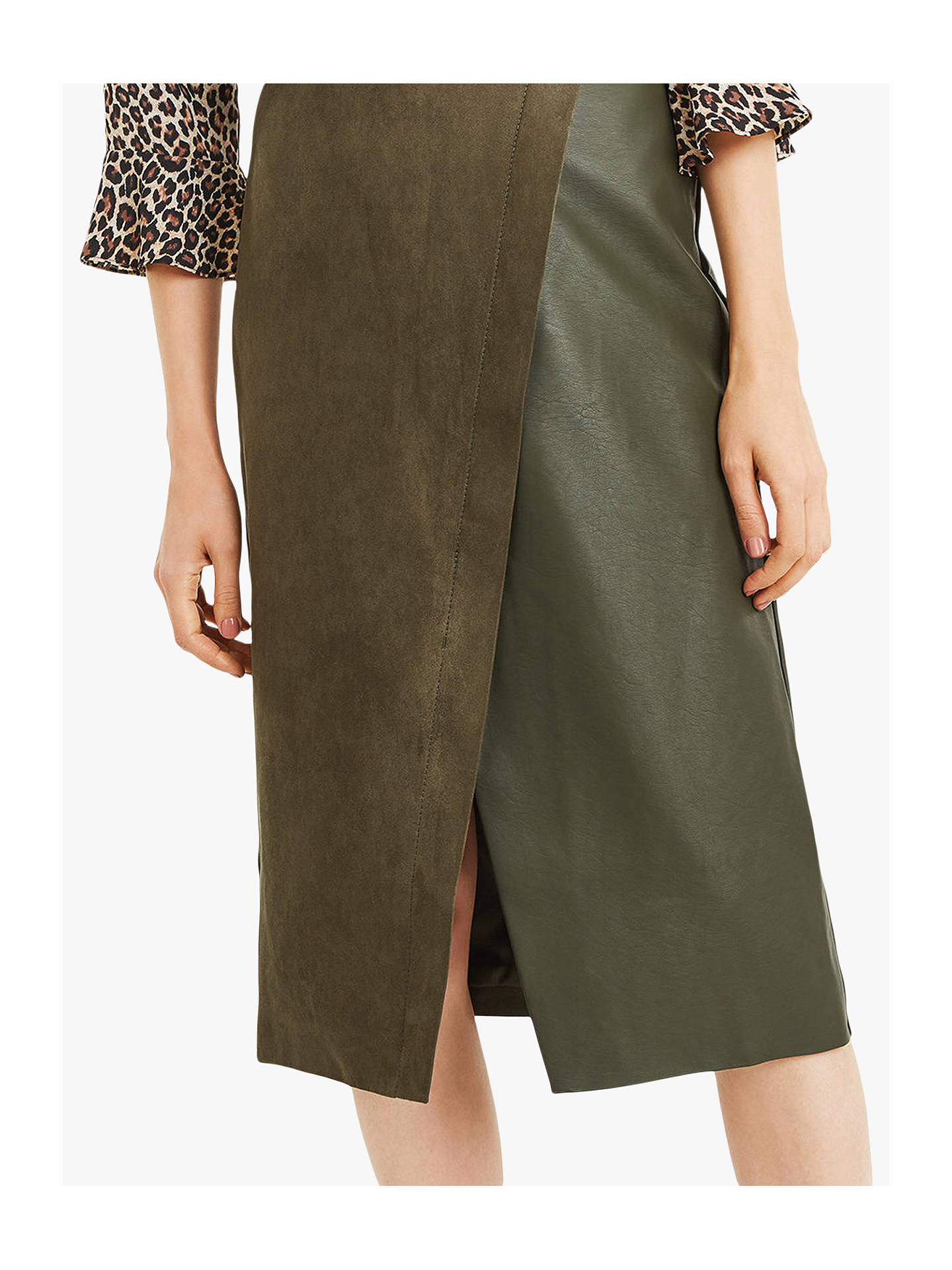 7e0c654dcf70 ... Buy Oasis Faux Suede Asymmetric Midi Skirt, Khaki, 10 Online at  johnlewis.com