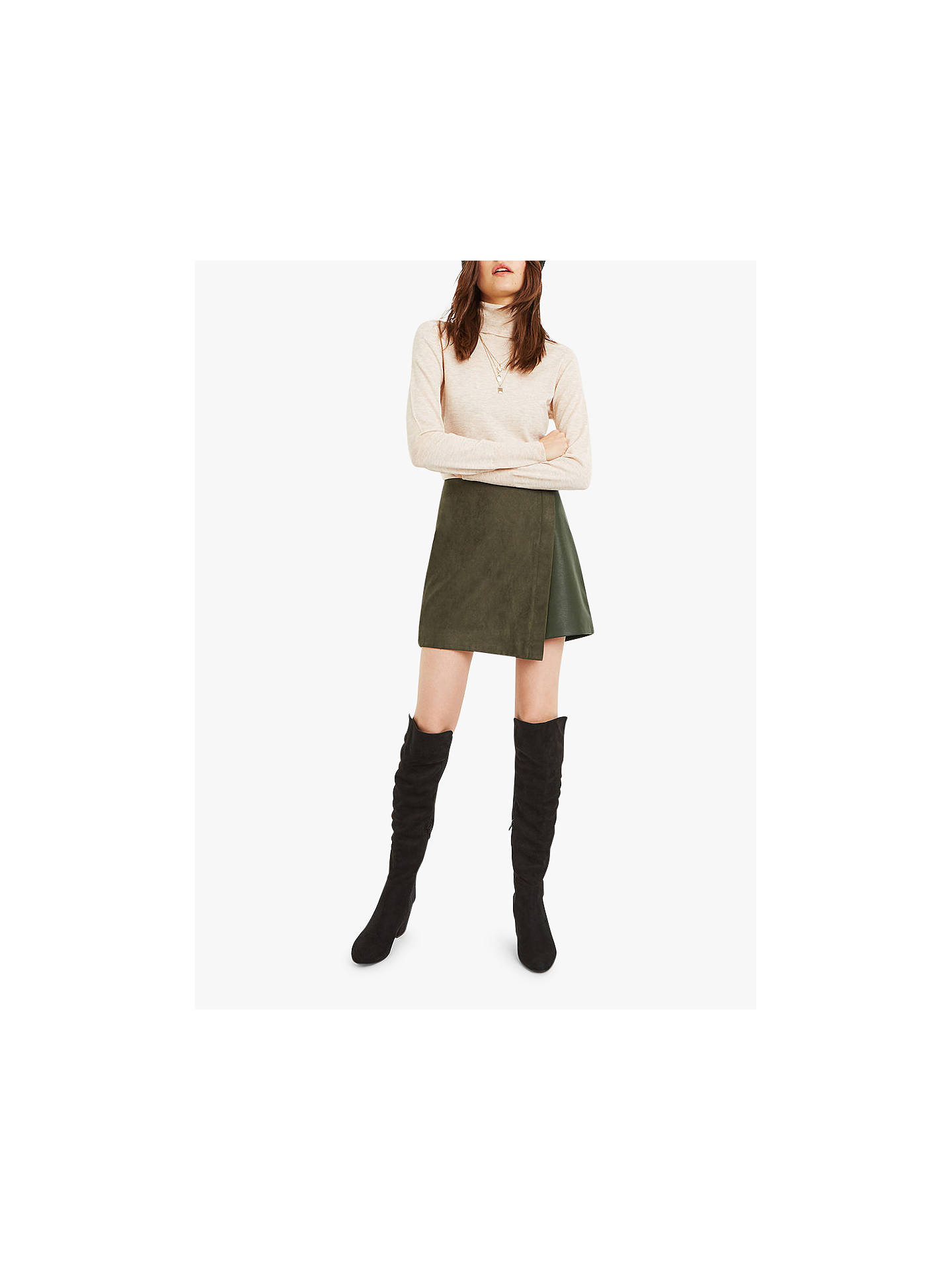 d953f6843a25 Buy Oasis Faux Suede Wrap Mini Skirt, Khaki, 12 Online at johnlewis.com ...