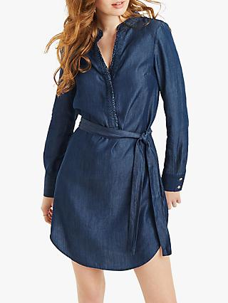 Oasis Frill Collar Tie Waist Dress, Denim
