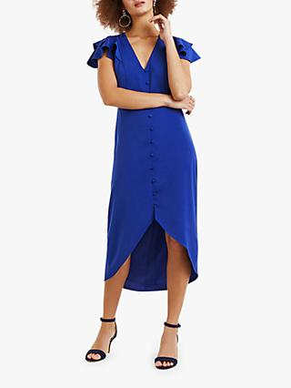 Oasis Button Front Midi Dress, Rich Blue
