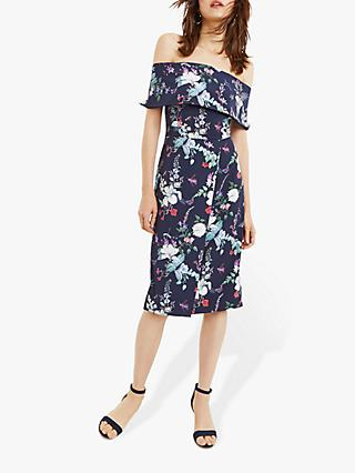 Oasis Bloom Pencil Bardot Dress, Navy/Multi