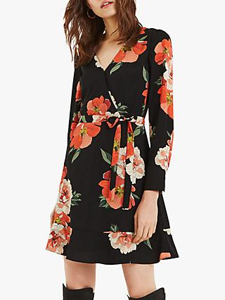 Oasis Bold Bloom Skater Wrap Dress, Multi Black