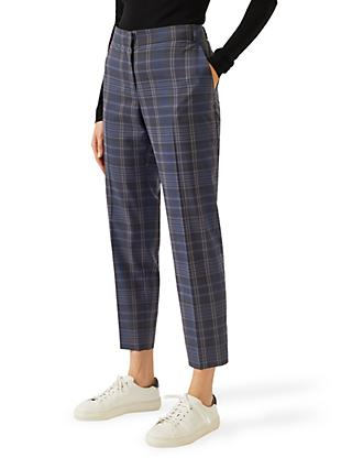 Jigsaw Check Portofino Trousers, Blue