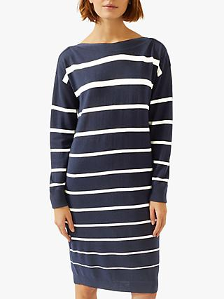 Jigsaw Boat Neck Stripe Knitted Wool Dress, Navy