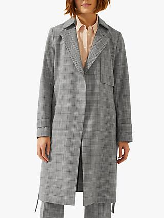 Jigsaw Check Trench Coat, Monochrome