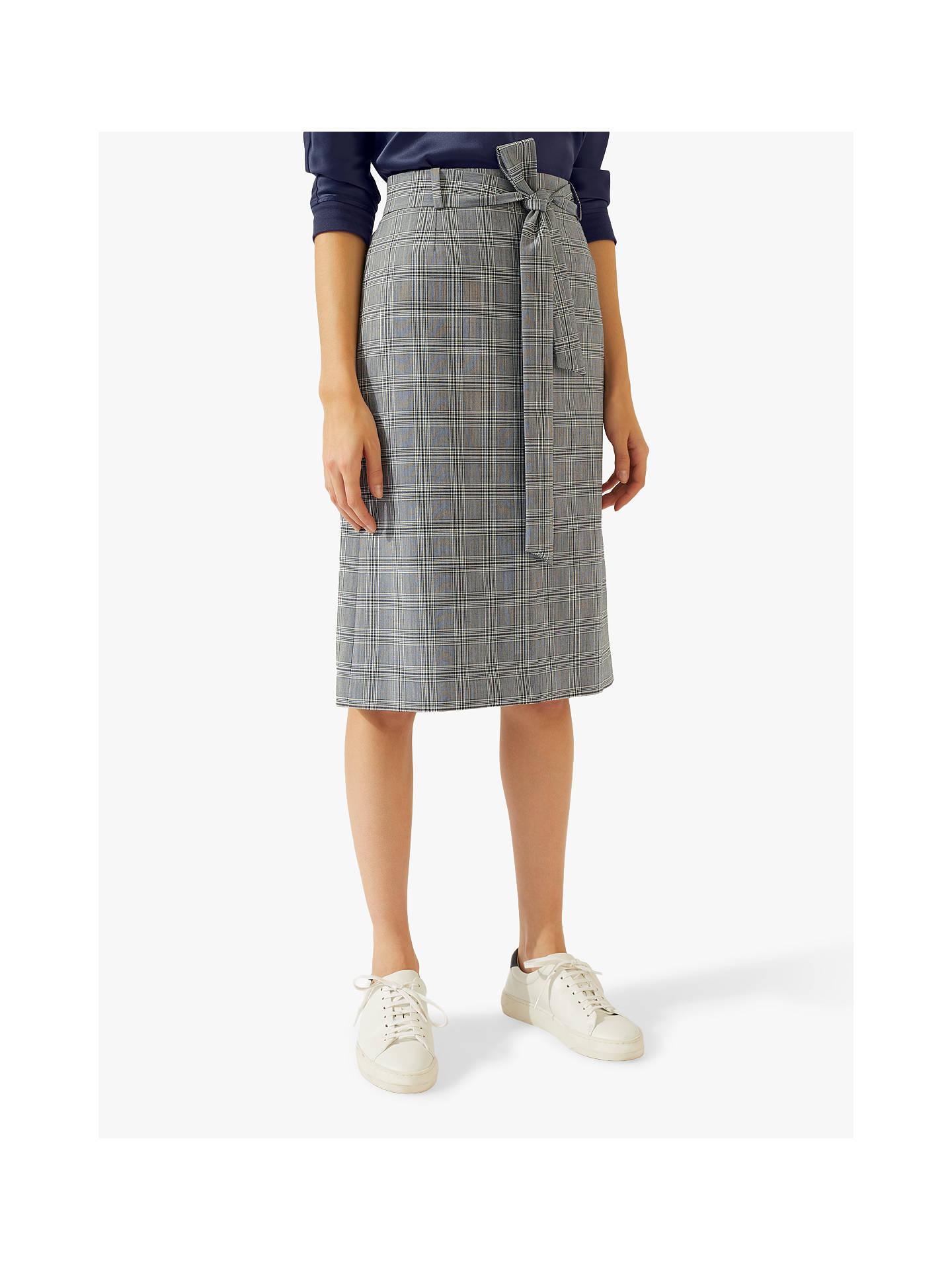 72b636077f81 Buy Jigsaw Monochrome Check Midi Skirt, Multi, 8 Online at johnlewis.com ...