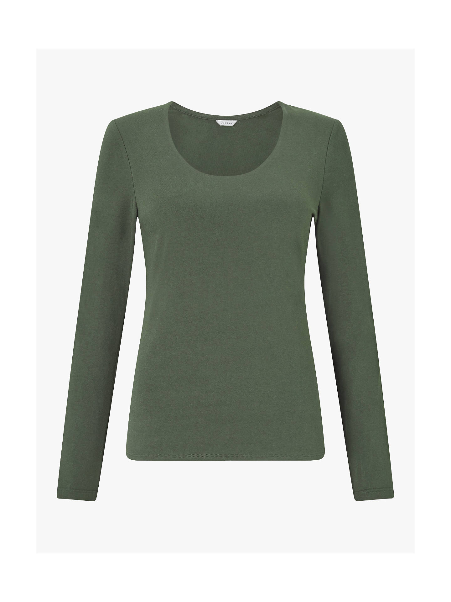 BuyJigsaw Double Front Scoop T-Shirt, Dark Khaki, XS Online at johnlewis.com
