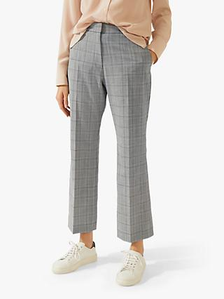 Jigsaw Check Cropped Trousers, Monochrome