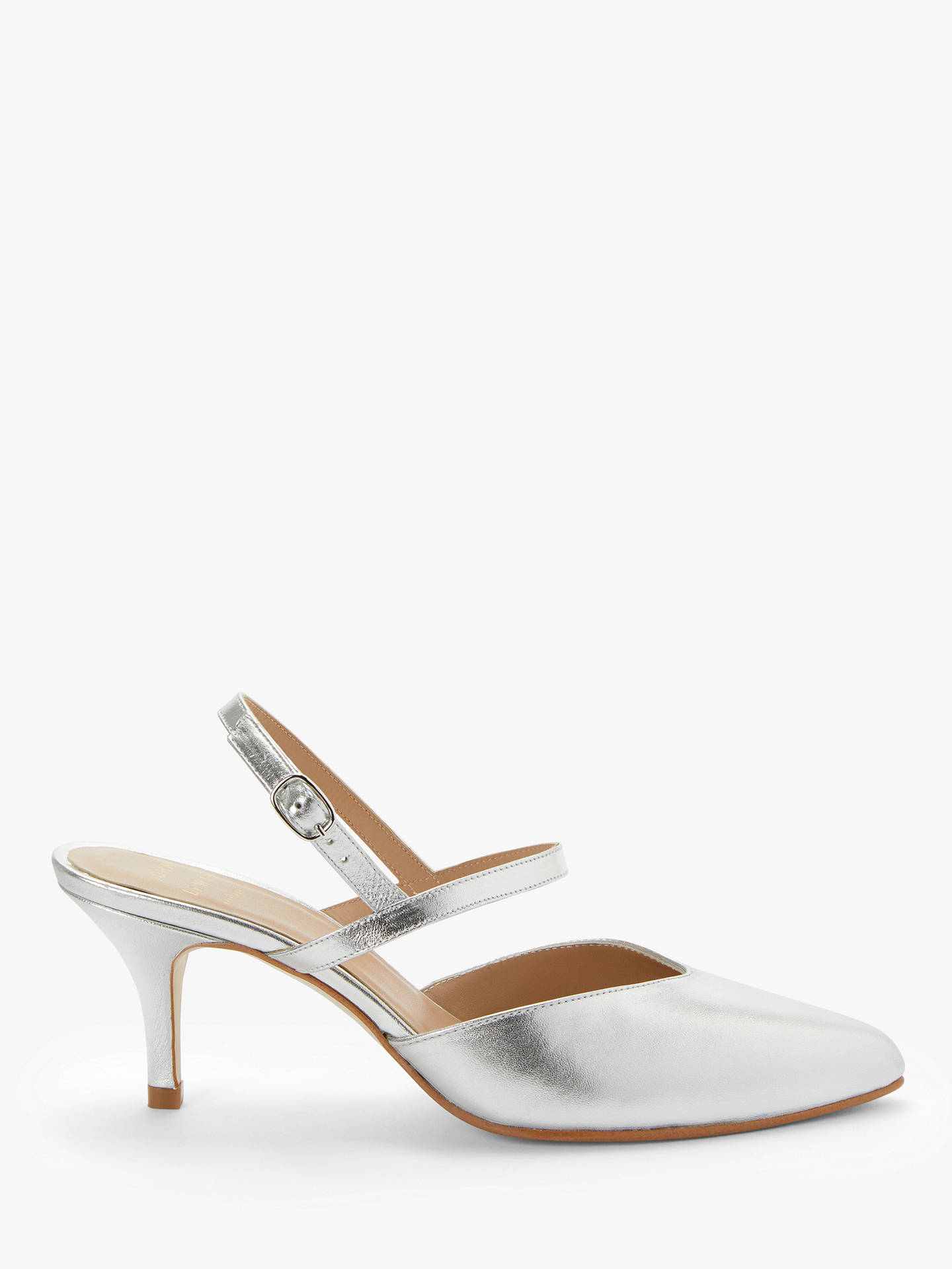 304624f5a42 John Lewis & Partners Brianna Ankle Strap Mid Heel Court Shoes, Silver  Leather, Silver Leather