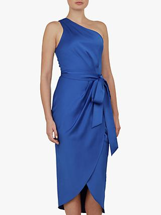 Ted Baker Gabie One Shoulder Drape Midi Dress, Blue Mid